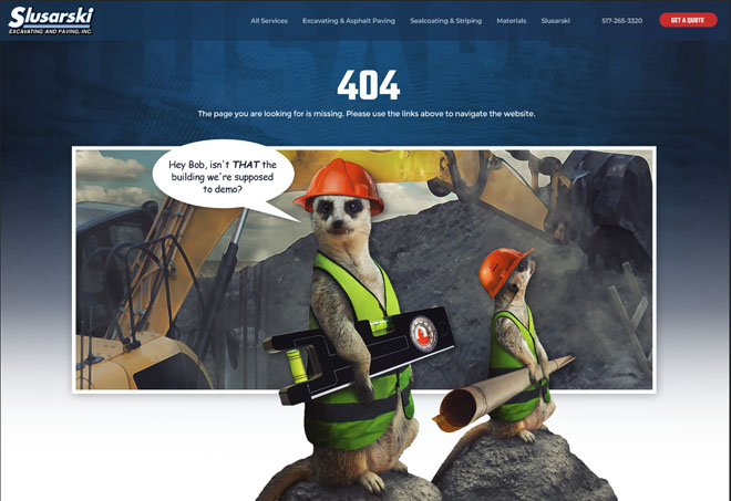 Slusarski Excavating Paving 404 website page design