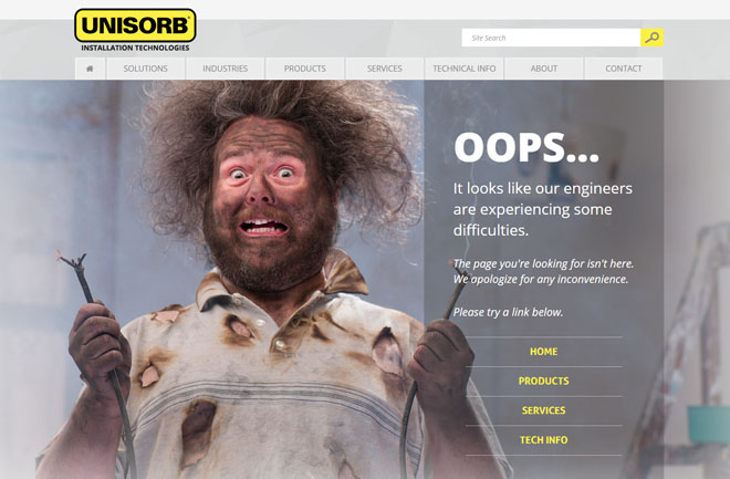 UNISORB 404 website error page design