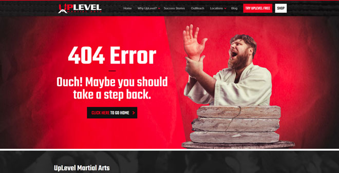 Uplevel Martial Arts 404 error website page design