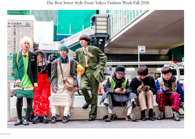 """Screen shot from Vogue's article, """"Best Street Style from Tokyo Fashion Week Fall 2018"""""""